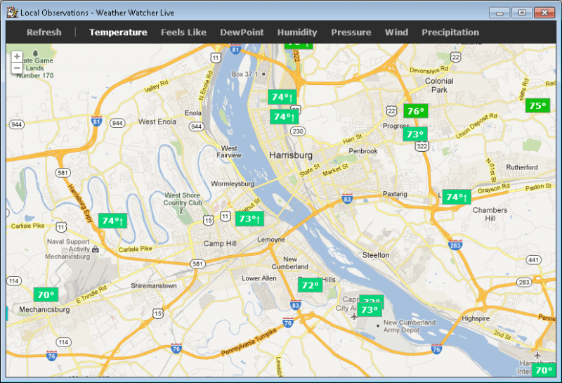 See live weather observations for every weather station in your area.