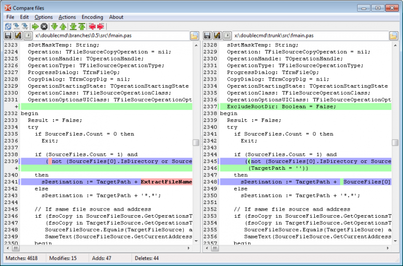 Compare files dialog