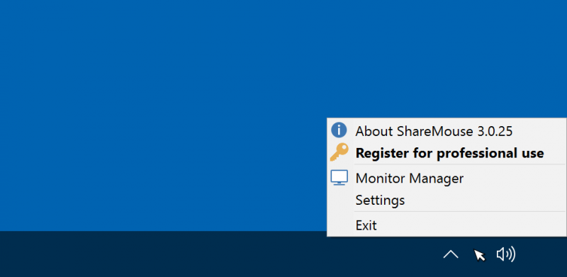 ShareMouse is controlled via a tray menu