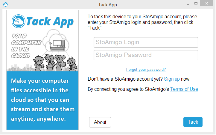 "Run the Tack App program. On the welcome screen, enter your StoAmigo Login and password and click ""Tack""."