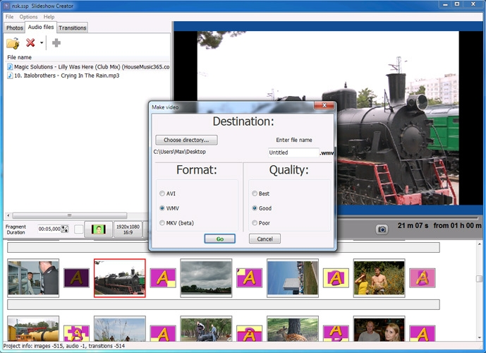 Saving the slideshow video