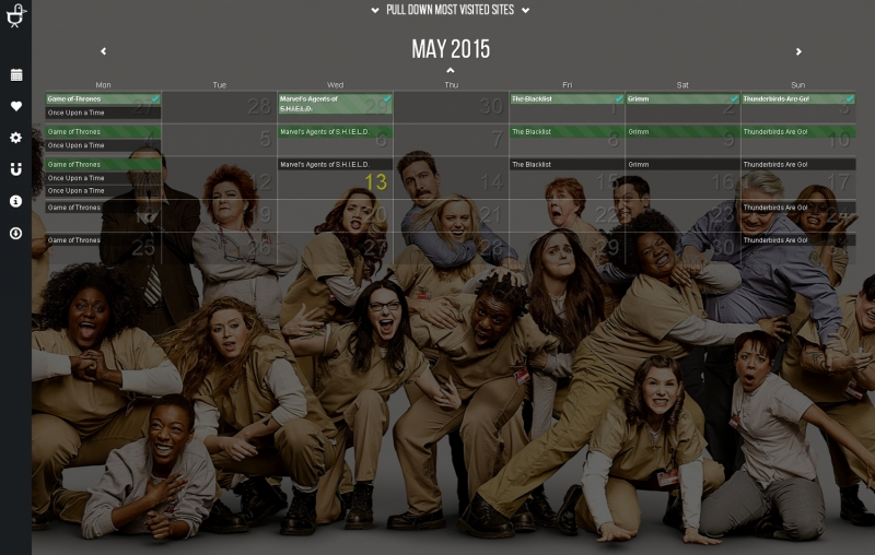 Your main screen is a beautiful calendar with backgrounds tailored to the shows you are watching