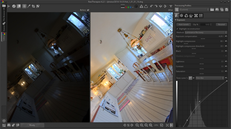 A Before|After view of a fisheye high dynamic range raw DNG image produced using HDRMerge is processed to restore the warm, natural light of this vintage style kitchen.