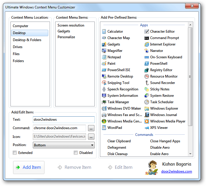Ultimate windows context menu customizer tweaks software for Door to windows
