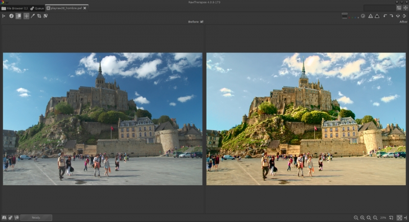Photo of Mont Saint-Michel developed with a vintage look, uneven vignetting from sky neutralized, shadows lifted using the Tone Mapping tool, golden color cast introduced using Lab curves, and some colors were made to glow using Luminance According to the Chromaticity curves.