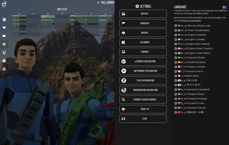 Control various settings to adjust DuckieTV to your needs, translated into your choice of 12 languages