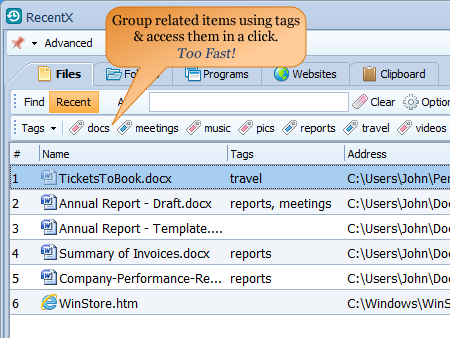 Tag files and folders in Windows