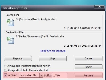 Auto-rename files with duplicate names