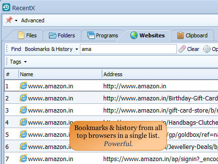Access website history of all major browsers