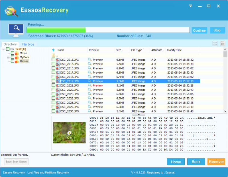 Scan files to recover