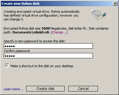 Create disk dialog window