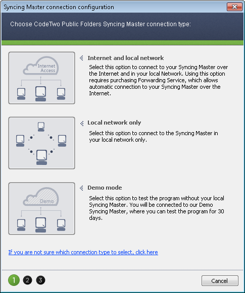 You can choose two ways of syncing your data or quickly connect to the Demo server to see how the program works without setting up a full environment.