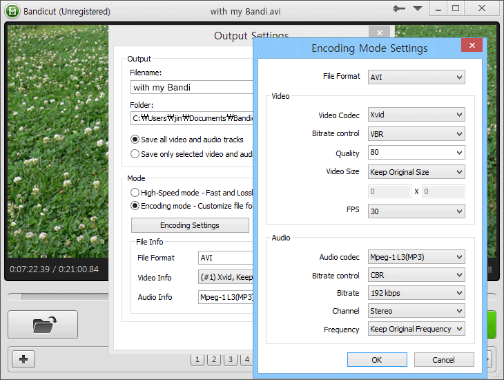 Encoding mode setting