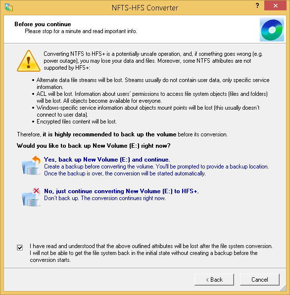 Volume backup warning screen