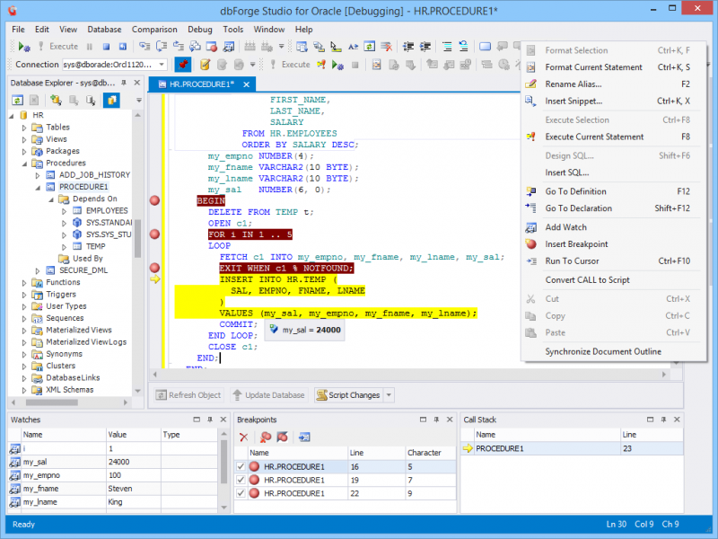 Oracle PL/SQL Debugger