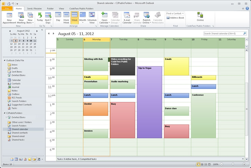 Shared calendar in Outlook. Sharing Outlook calendar will e.g. let a secretary update the boss's calendar remotely.