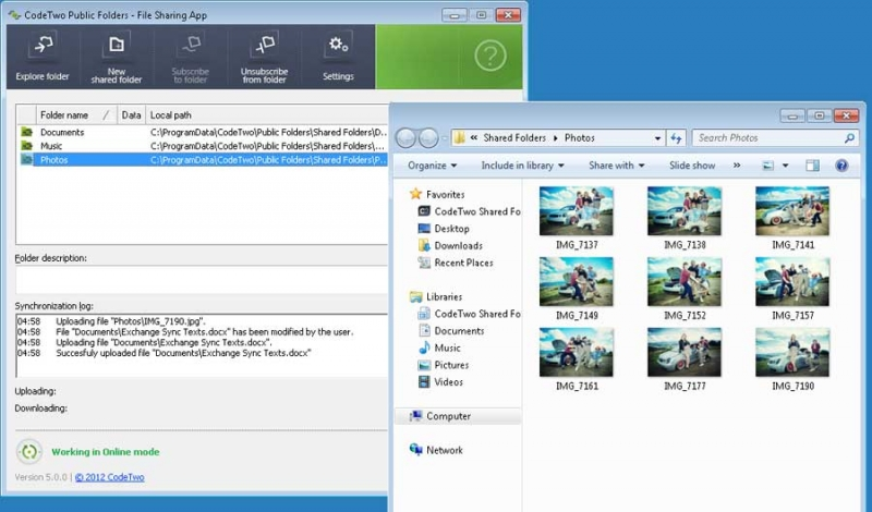 Sharing files with the File Sharing App. You can securely share any Windows folders and files with other users.
