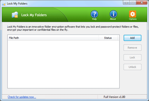 Lock or encrypt your important folders / files in just a few mouse clicks!