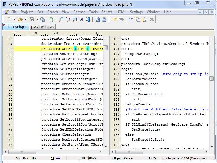 Editing two windows with synchronization