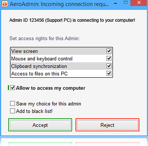 Remote admin connection request window