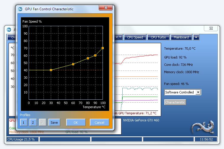 Control the fan speed of the GPU fan depending on the GPU temperature