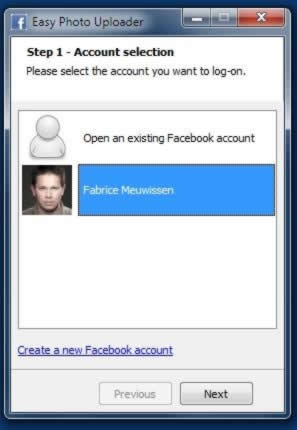 Step 2 – Select your Facebook account or enter your Facebook login and password.