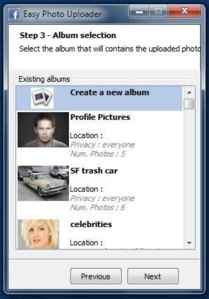 Step 3 – Select which album you want the pictures to be posted on Facebook. The Facebook uploader can also be used to create a new album without having to access the Facebook control panel.