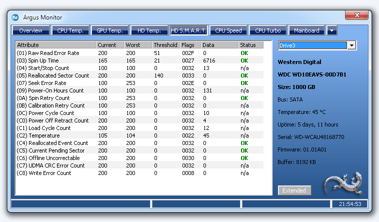 SMART Status: Overview of disk drive S.M.A.R.T. attributes