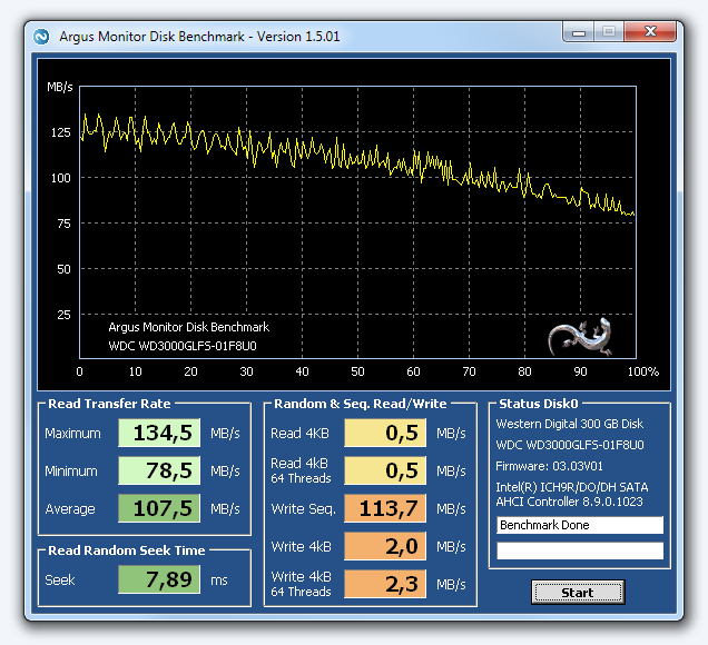 HDD/SDD Benchmark: Measure the transfer rate, seek time and random read/write rates of your hard disk or SSD