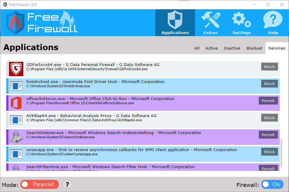 block application from internet windows firewall