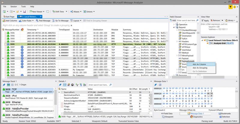 Message Analyzer Analysis Grid viewer
