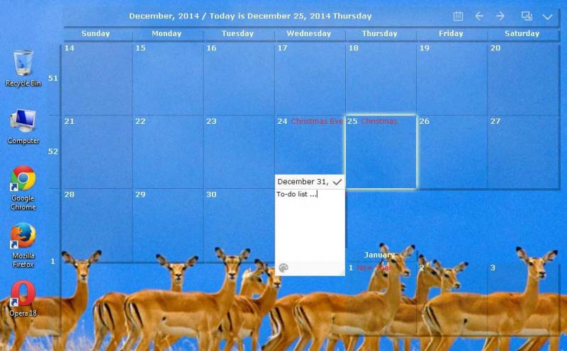 Desktop Calendar on your windows desktop