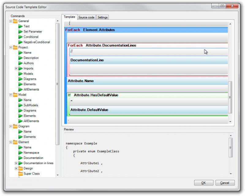 Source Code Template Editor
