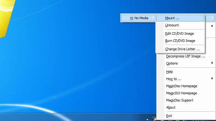 Using MagicDisc to mount CD/DVD image