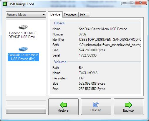 USB Image Tool showing a SanDisk USB flash drive and a Card Reader