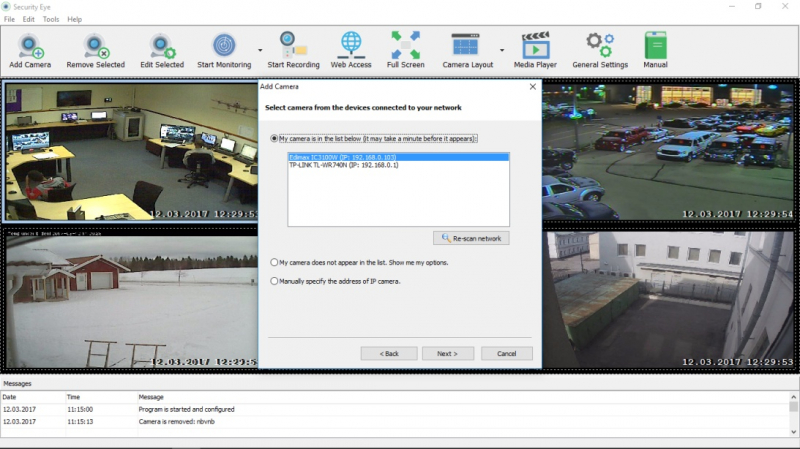 Security Eye can scan your network and define your IP camera automatically.