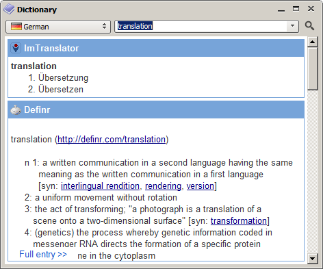 Dictionary window.