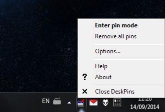 Notification icon menu