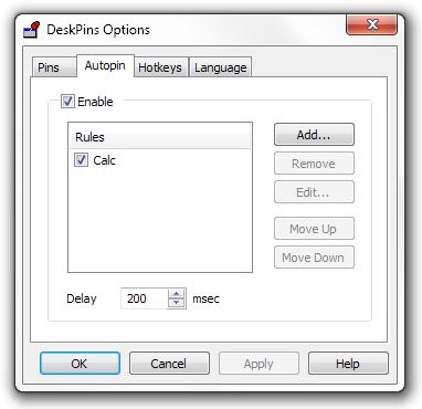 Autopin options