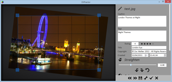 Resize, rotate (lossless), crop and adjust colour in photos
