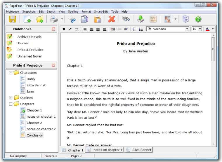 Main Window - Notebooks, outliner, and word processor