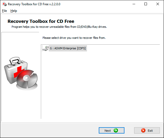 Select the drive to recover data