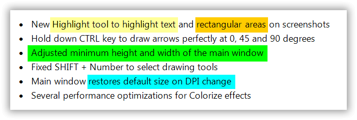 Easily highlight text and rectangular areas on your screenshots