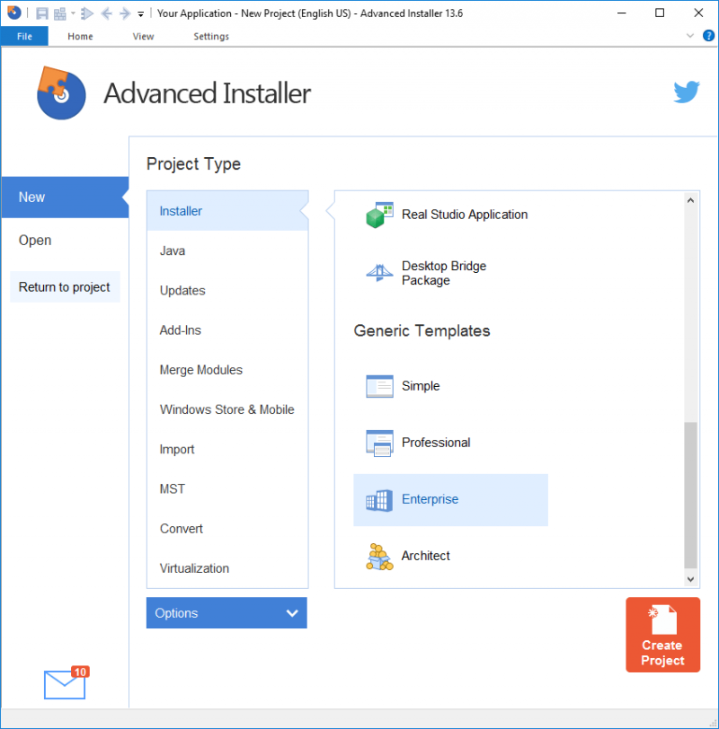Creating a new Advanced Installer project