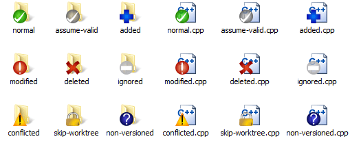Overlay icons in explorer indicating the status of files and folders